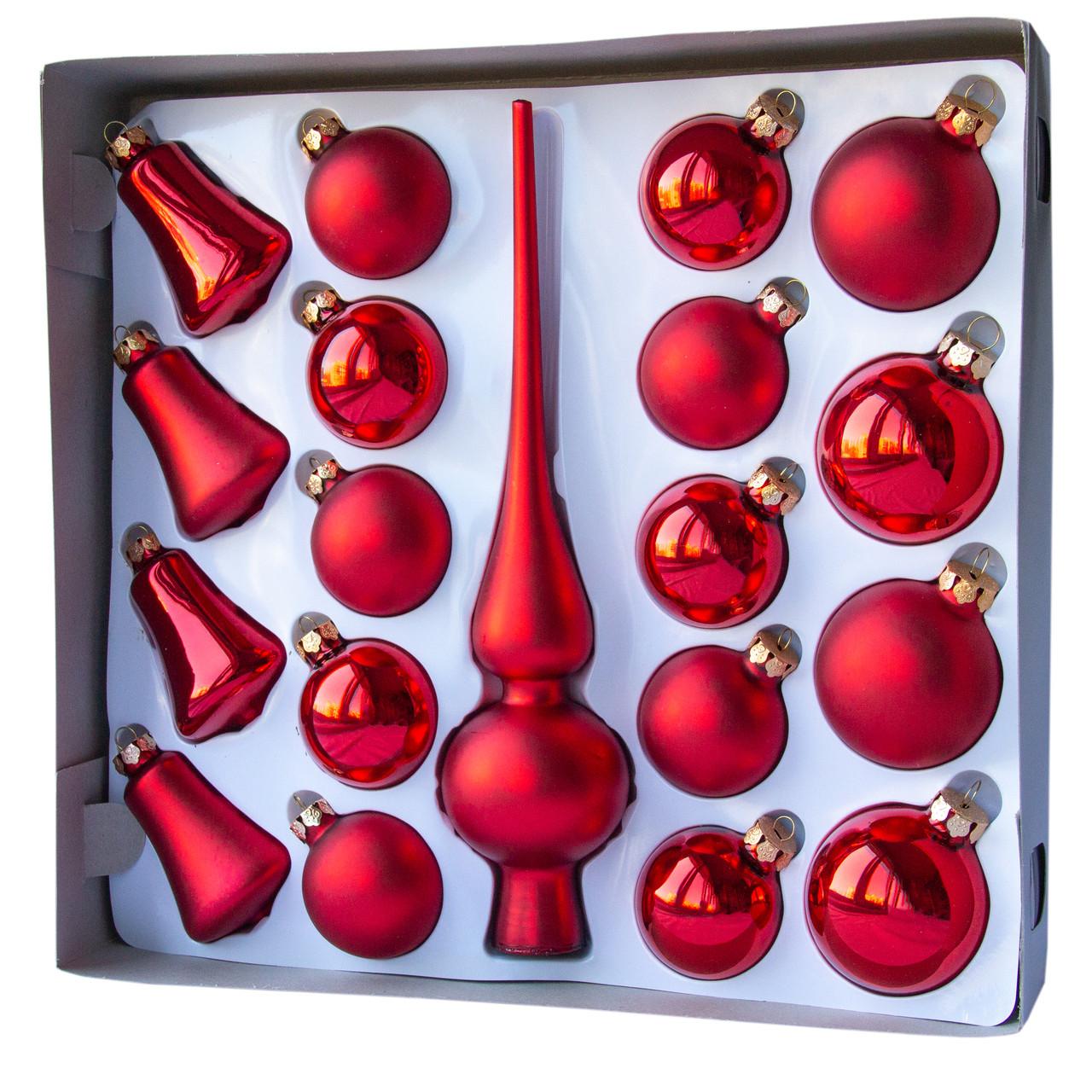 Набор елочных игрушек - шары с верхушкой, 19 шт, D5-6 см, красный, микс, стекло (390212-3)