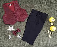 Детский нарядный костюм, р. 6, 12, 24 месяца, бордо (брюки, жилет, бабочка)