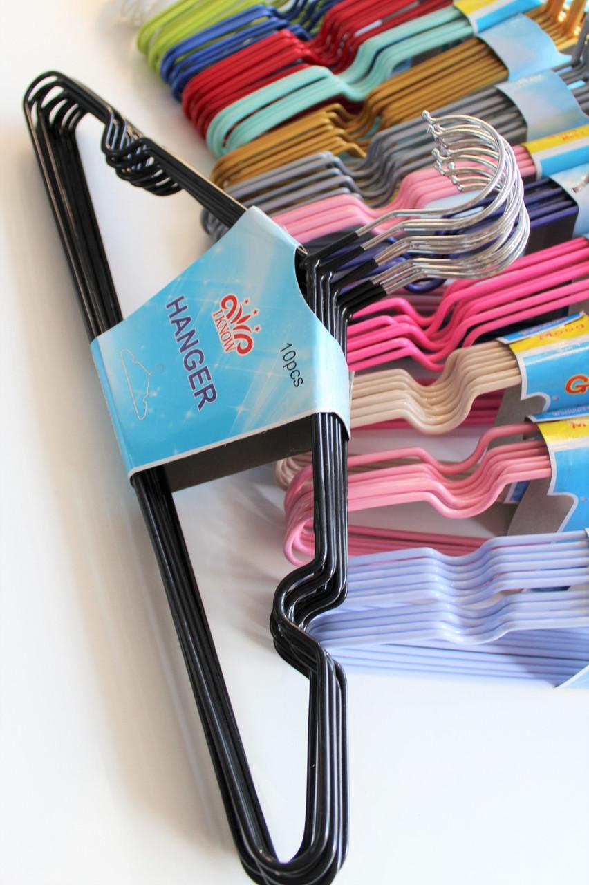 Плечики вешалки металлические с силиконовым покрытием цветные, 40 см