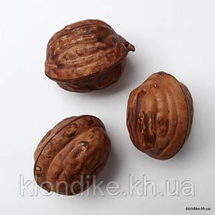 Грецкий орех, пластик, 3×2,5 см, Цвет: Коричневый