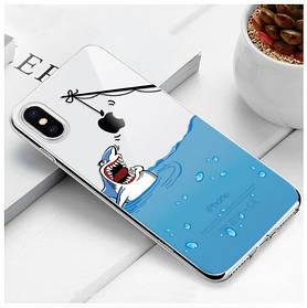 "Чехол TPU прозрачный, мягкий с изображением ""Акула"" iPhone 5/5S/SE"