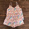 Пижама-комплект для дома и сна розового цвета с майкой и шортами с единорогами