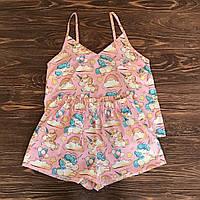 Пижама-комплект для дома и сна розового цвета с майкой и шортами с единорогами, фото 1