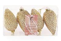 Набор шишек, 8 см, цвет - яркое золото, глянец с глитером, 4шт BonaDi 147-082