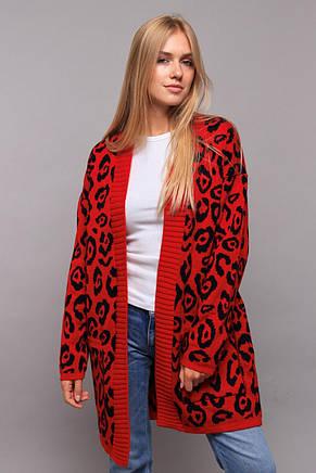 Леопардовый женский кардиган с карманами, фото 2
