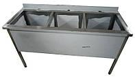Ванна моечная трехсекционная из нержавеющей стали, размер 1400x600x850