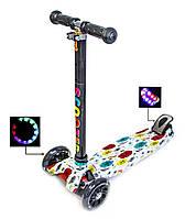 """Детский самокат MAXI """"Smart Flowers"""", с черными светящимися колёсами, поворот наклоном руля"""