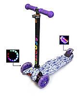 Детский самокат MAXI Сиреневые Цветочки, с фиолетовыми светящимися колёсами, поворот наклоном руля