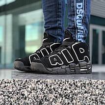 Женские и мужские кроссовки Nike Air More Uptempo Black/White, фото 2
