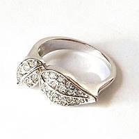 Кольцо Два лепестка в камнях. Родий