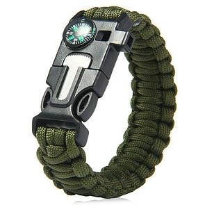 Паракордовый браслет для выживания с огнивом свистком компасом. EDC браслет из паракорда зеленый