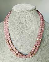 Ожерелье из натурального розового кварца в серебре 925
