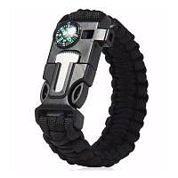 Паракордовый браслет для выживания с огнивом свистком компасом. EDC браслет из паракорда черный