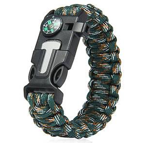 Паракордовый браслет для выживания с огнивом свистком компасом. EDC браслет из паракорда камуфляжный