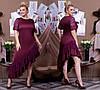 Женское ассиметричное платье атласное с отделкой из гипюра 50-52, 54-56, 58-60, фото 3