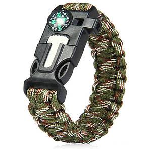 Паракордовый браслет для выживания с огнивом свистком компасом. EDC браслет из паракорда мультикам