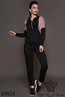 Стильный спортивный костюм женский кофта и брюки с манжетами черный+фреза, спортивные костюмы женские 2019