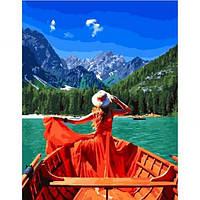 "Картина по номерам 50х40см Rainbow Art ""Девушка в лодке"""