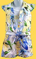 """Комплект летней одежды для девочки 4-5 лет, """"Лето"""": болеро, майка, шорты"""
