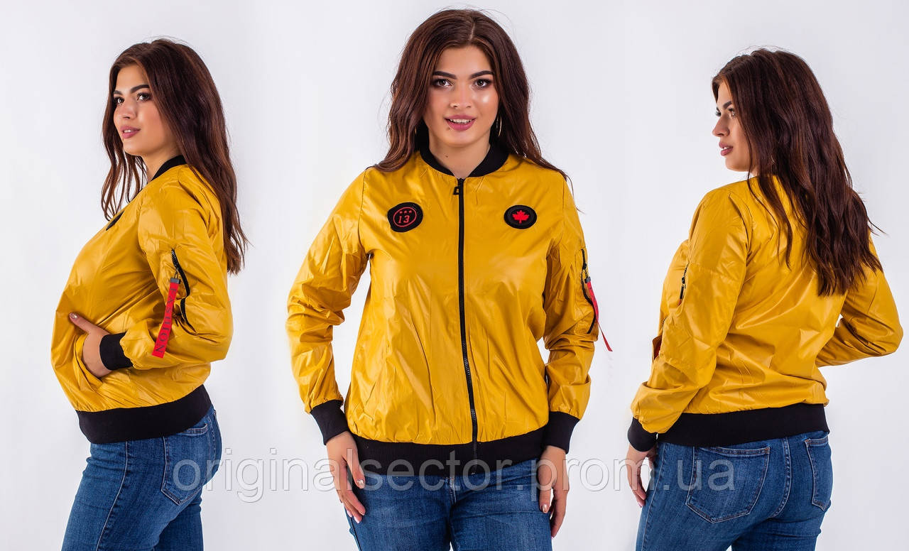 Тонкая женская куртка бомбер 48-58 размеры