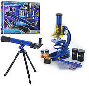 Игровой набор детский микроскоп и телескоп со штативом, линзами в коробке CQ-031