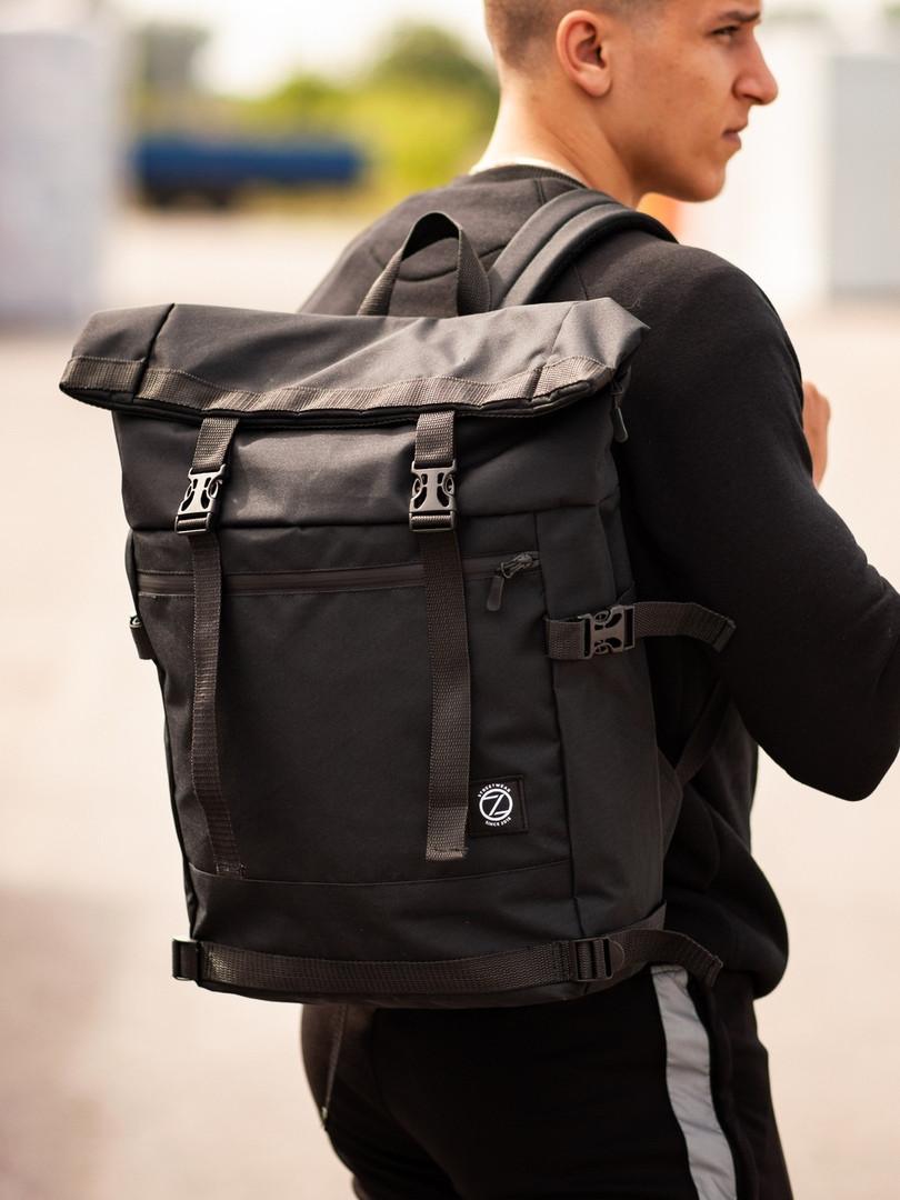 Городской рюкзак Rolltop BEZET Black' 19, черный рюкзак ролтоп, городской ролтоп