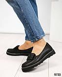 Стильные черные туфли женские с бантом, фото 4