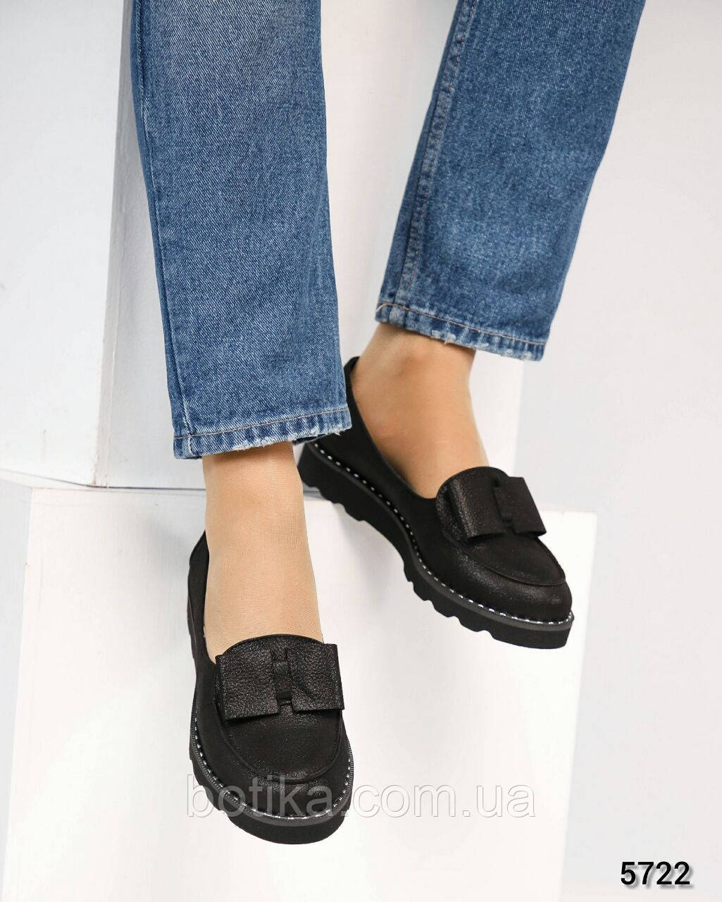 Стильные черные туфли женские с бантом