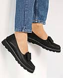 Стильные черные туфли женские с бантом, фото 5