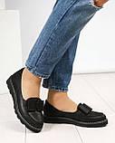 Стильные черные туфли женские с бантом, фото 6