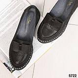 Стильные черные туфли женские с бантом, фото 3