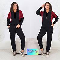 Оригинальный спорткостюм кофта и брюки с манжетами батальных размеров черный+марсала, р. 50-52, 54-56