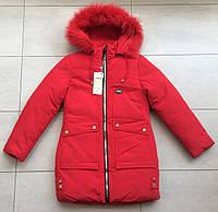 Куртка зимняя на девочку 7-11 лет красный цвет, фото 1