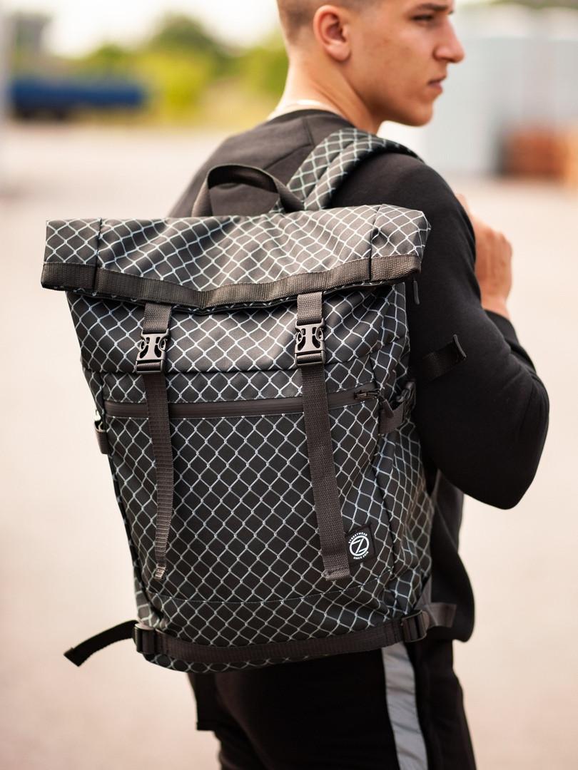 Городской рюкзак Rolltop BEZET Grid' 19, рюкзак ролтоп с принтом