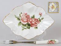Набор: тарелочка с десертной вилкой Корейская роза, 15 см BonaDi 348-582