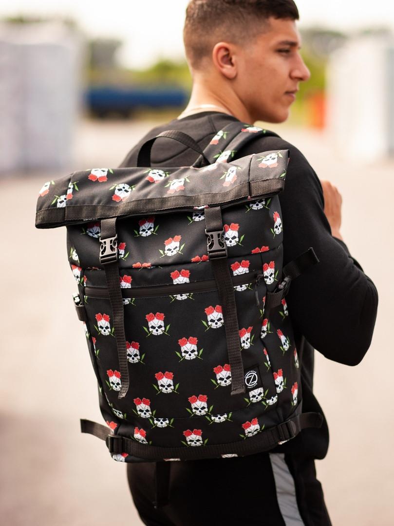 Городской рюкзак Rolltop BEZET Skull' 19, рюкзак ролтоп с принтом