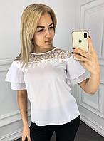 Женская блузка с гипюровыми вставками и коротким рукавом, белая
