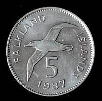Монета Фолклендских островов 5 пенсов 1987 г. Альбатрос