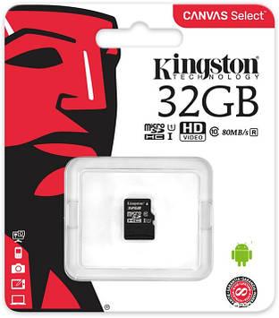 Карта памяти Kingston microSDHC 32GB Canvas Select Class 10 UHS-I U1 (SDCS/32GBSP)