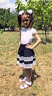 Юбка школьная с кружевом для девочки  черн014