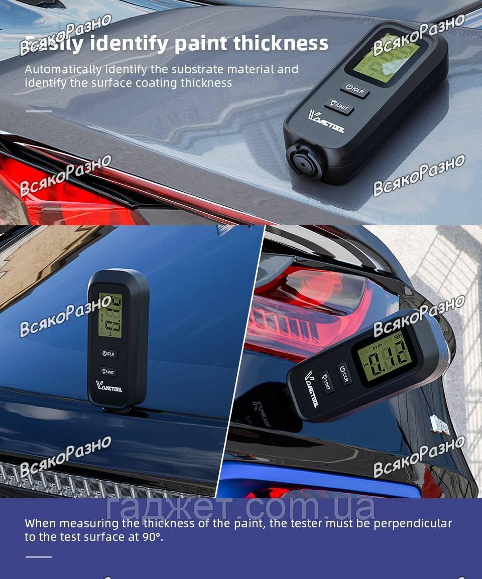 Толщиномер автомобильной краски VDIAGTOOL VC-100. Цифровой прибор для измерения уровня краски