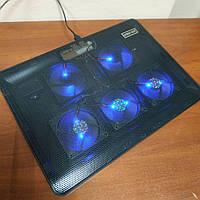 Подставка для ноутбука с вентилятором охлаждением и подсветкой Notebook Cool Pad V4 V5 USB на стол черная, фото 1