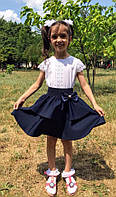 Юбка школьная клеш с баской на резинке для девочки  черн017, фото 1