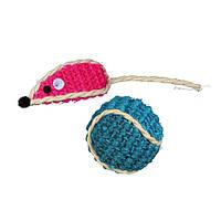 Trixie Set Sisal-Spielzeug игрушка для кошек Мячик с мышкой сизалевые