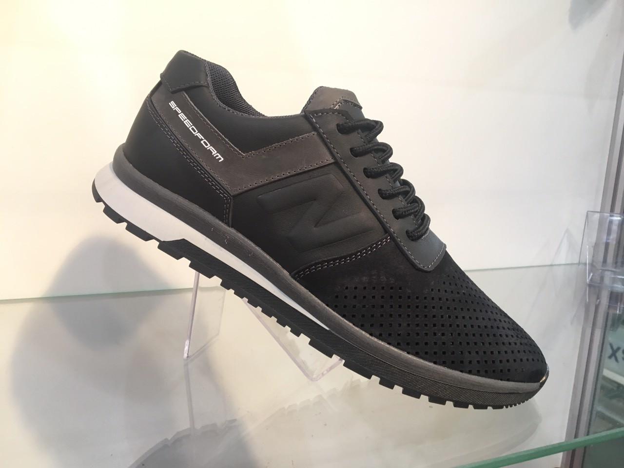 Мужские кожаные кроссовки перфорация 40-45 чёрный
