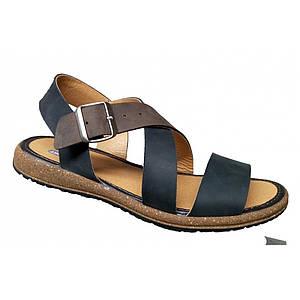 Кожаные мужские сандалии  летние   39-46 крейзи чёрный