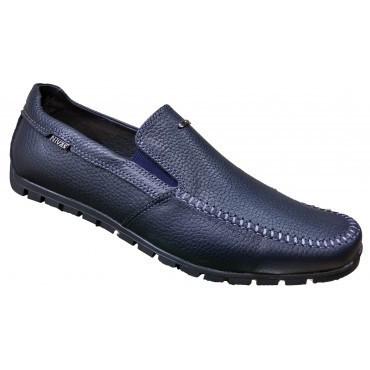 Кожаные мокасины мужские модные  40-45 синий флотар