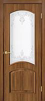 Двери межкомнатные Омис  Адель 2 СС+КР ПВХ со стеклом и рисунком, цвет дуб золотой