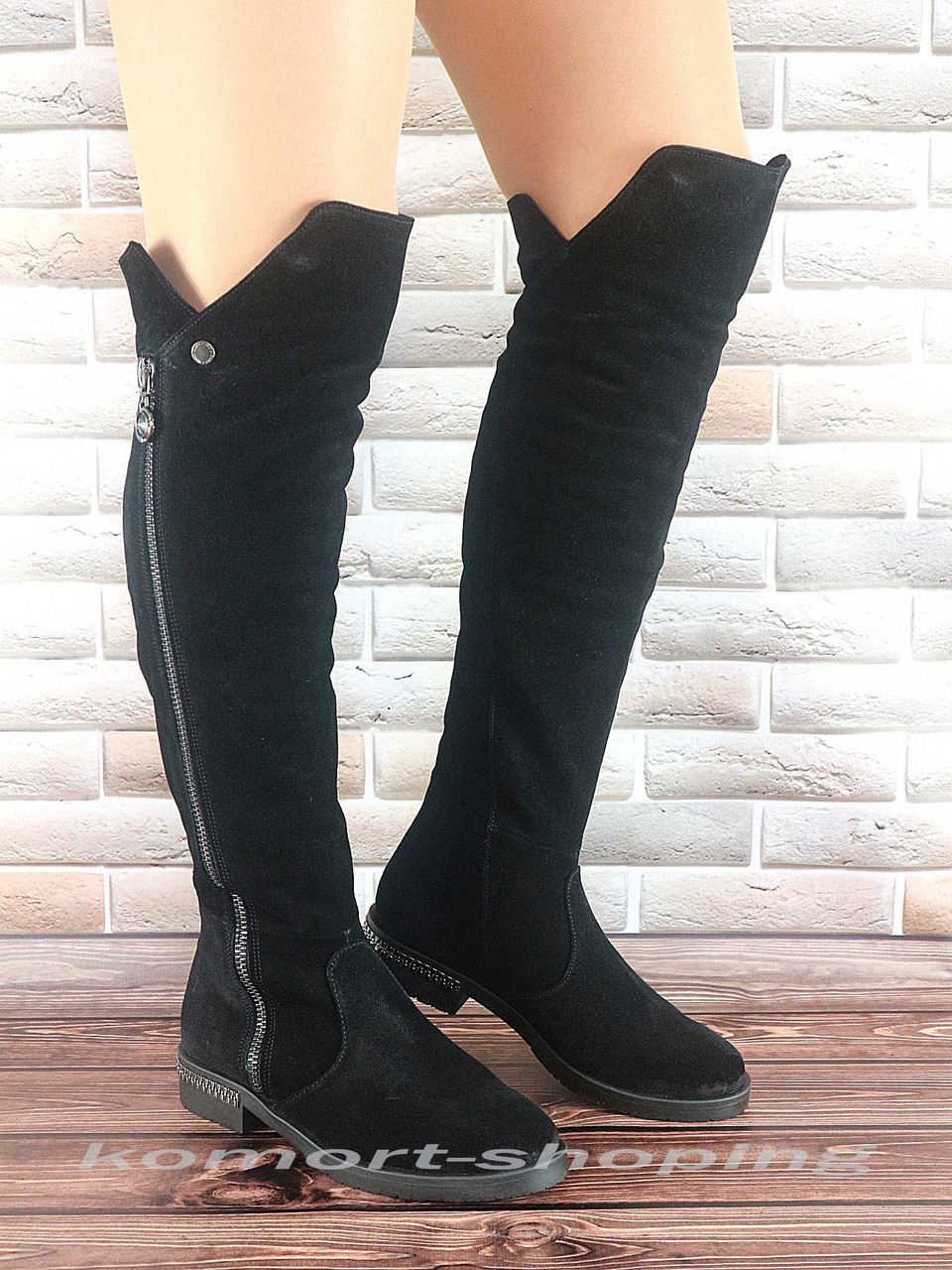 Женские ботфорты замшевые, черные V 1163