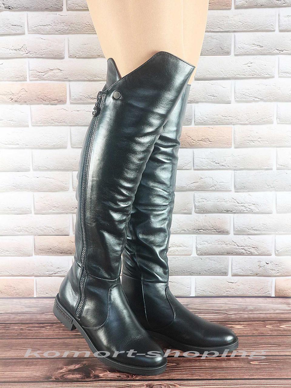 Женские ботфорты, кожаные, черные V 1163